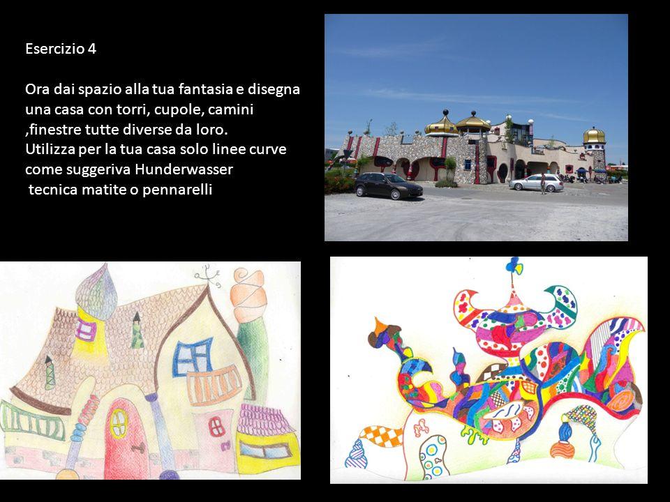 Esercizio 4 Ora dai spazio alla tua fantasia e disegna una casa con torri, cupole, camini,finestre tutte diverse da loro. Utilizza per la tua casa sol