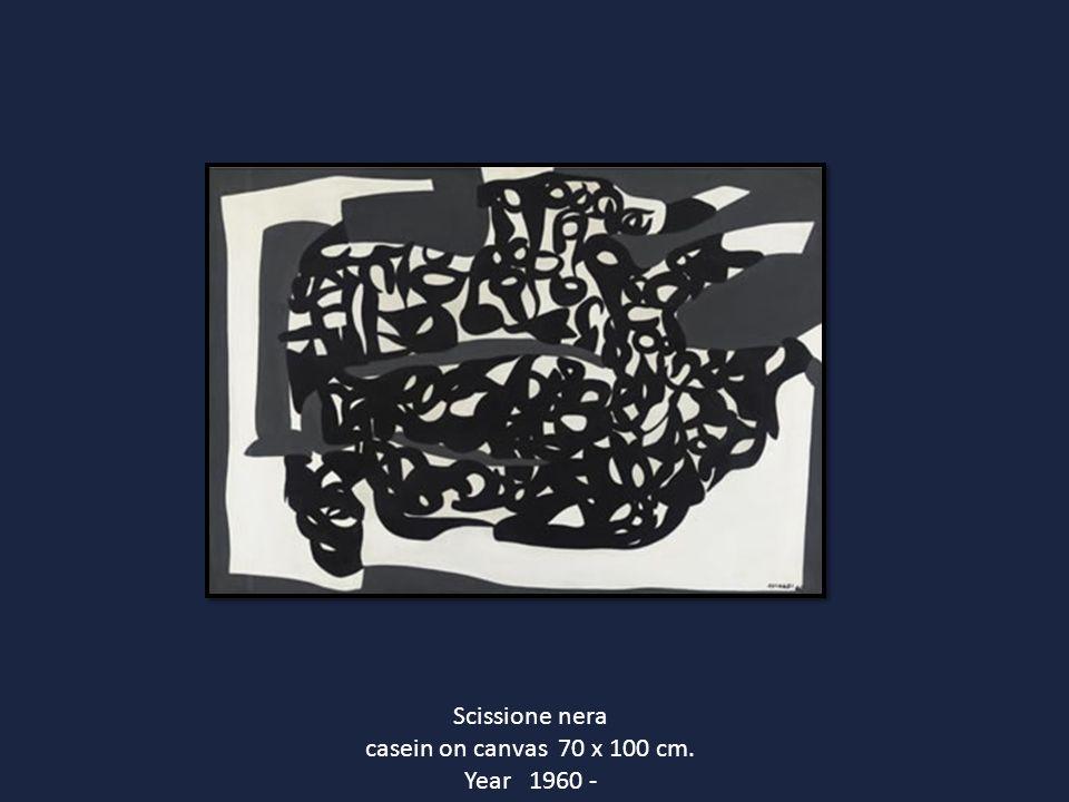 Scissione nera casein on canvas 70 x 100 cm. Year 1960 -