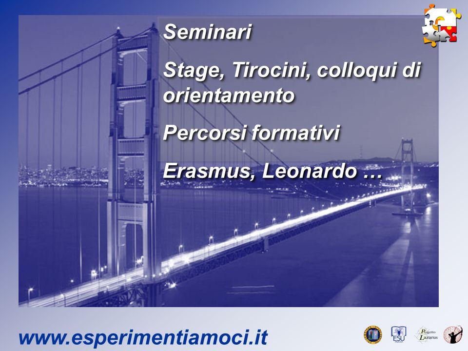 Seminari Stage, Tirocini, colloqui di orientamento Percorsi formativi Erasmus, Leonardo … Seminari Stage, Tirocini, colloqui di orientamento Percorsi formativi Erasmus, Leonardo …