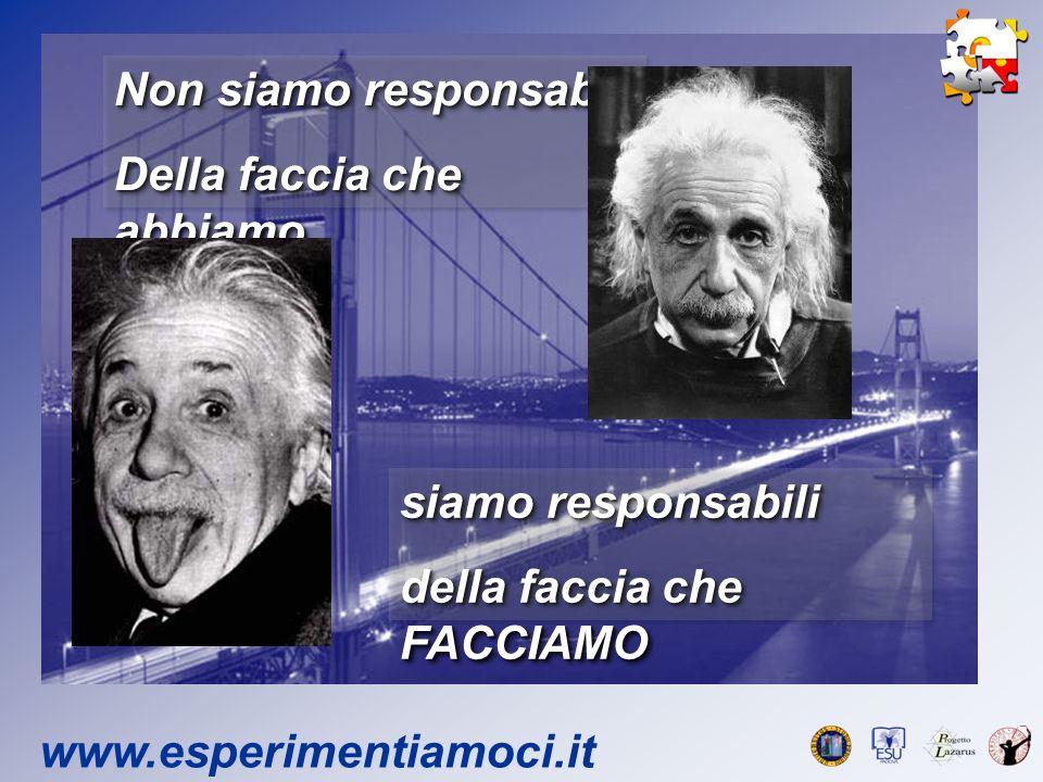www.esperimentiamoci.it Non siamo responsabili Della faccia che abbiamo Non siamo responsabili Della faccia che abbiamo siamo responsabili della faccia che FACCIAMO siamo responsabili della faccia che FACCIAMO