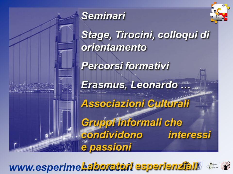 www.esperimentiamoci.it Seminari Stage, Tirocini, colloqui di orientamento Percorsi formativi Erasmus, Leonardo … Associazioni Culturali Gruppi inform