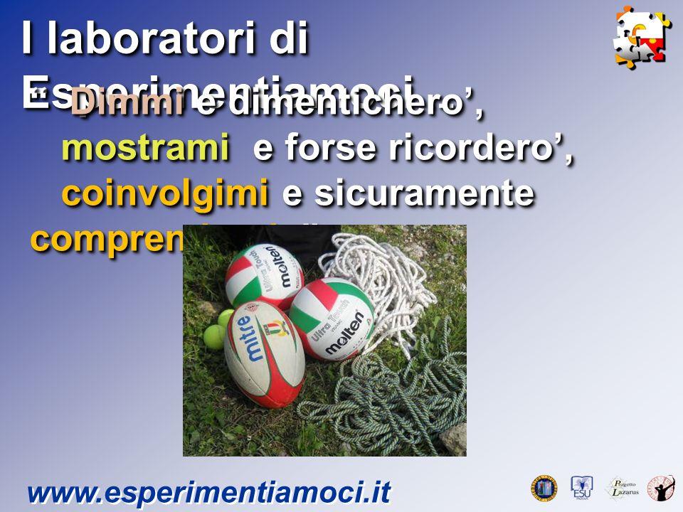 I laboratori di Esperimentiamoci … www.esperimentiamoci.it Dimmi e dimentichero, Dimmi e dimentichero, mostrami e forse ricordero, mostrami e forse ri