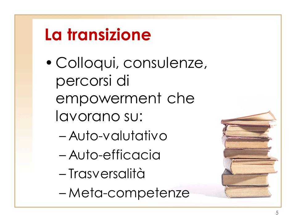 La transizione Colloqui, consulenze, percorsi di empowerment che lavorano su: –Auto-valutativo –Auto-efficacia –Trasversalità –Meta-competenze 5