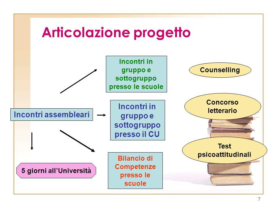 7 Articolazione progetto Incontri assembleari Incontri in gruppo e sottogruppo presso il CU Incontri in gruppo e sottogruppo presso le scuole Bilancio