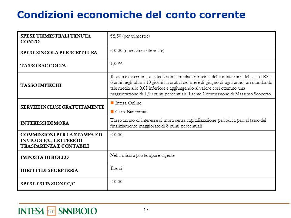 17 Condizioni economiche del conto corrente SPESE TRIMESTRALI TENUTA CONTO 2,50 (per trimestre) SPESE SINGOLA PER SCRITTURA 0,00 (operazioni illimitat
