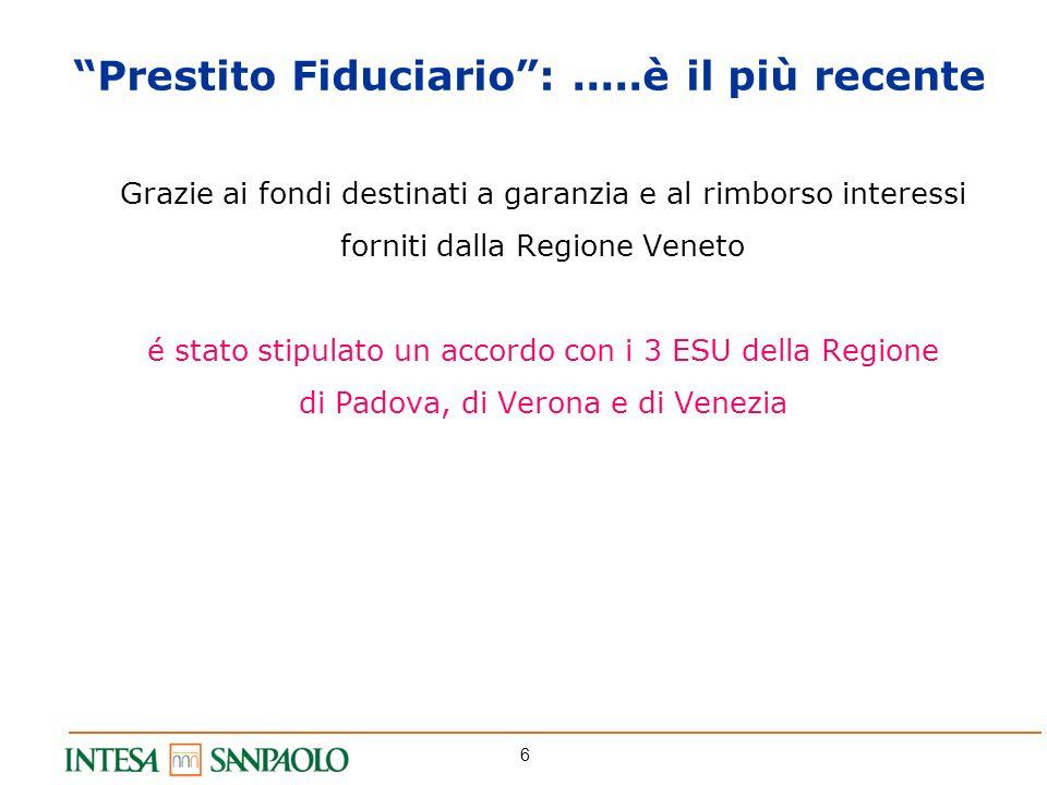 6 Grazie ai fondi destinati a garanzia e al rimborso interessi forniti dalla Regione Veneto é stato stipulato un accordo con i 3 ESU della Regione di