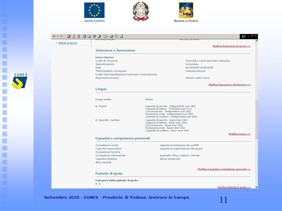 11 Settembre 2010 - EURES - Provincia di Padova: lavorare in Europa