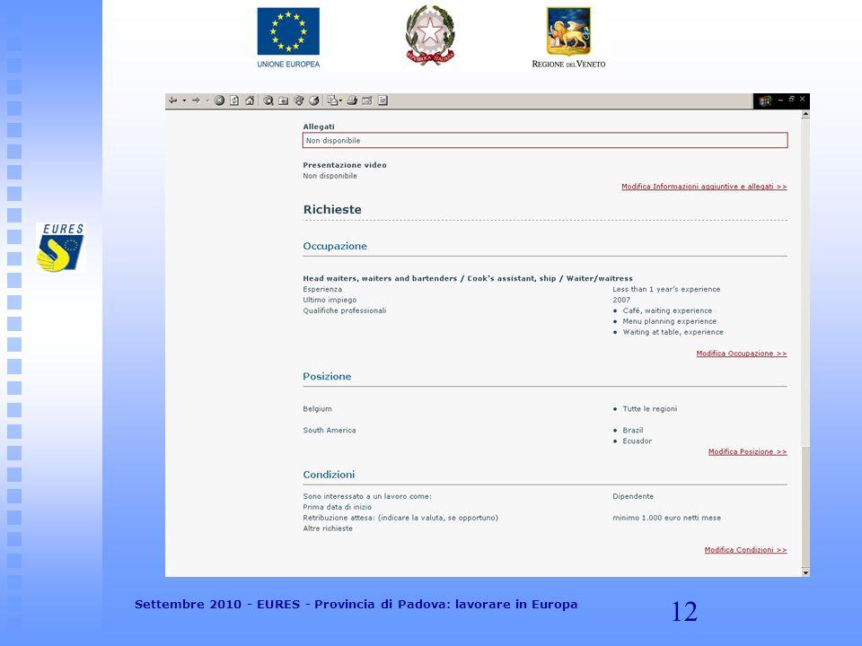 12 Settembre 2010 - EURES - Provincia di Padova: lavorare in Europa
