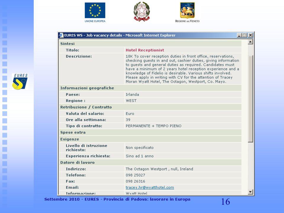 16 Settembre 2010 - EURES - Provincia di Padova: lavorare in Europa