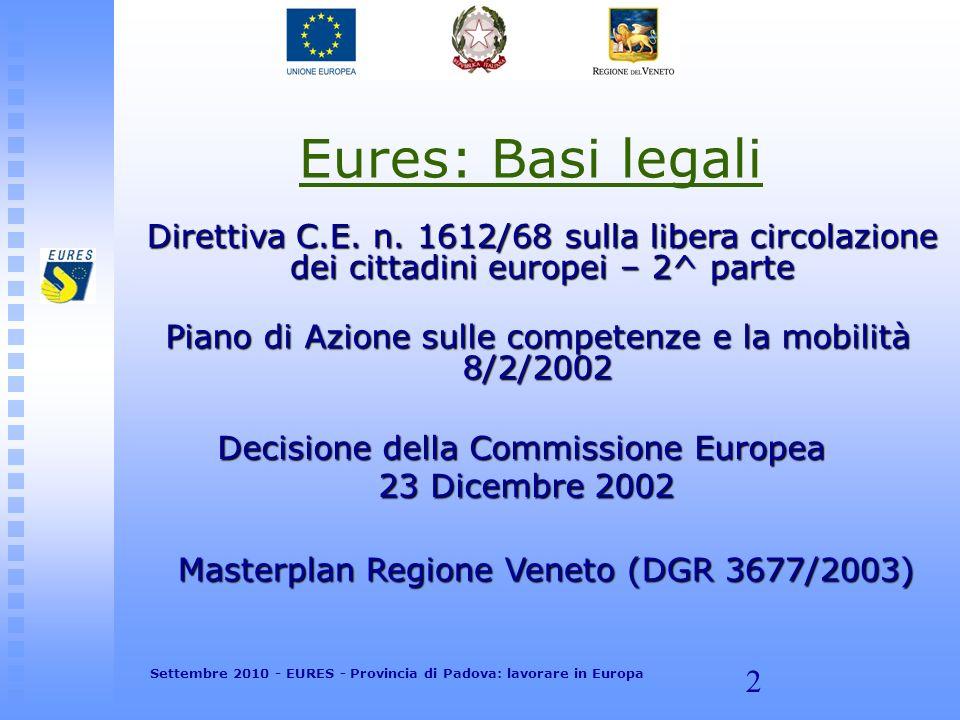2 Eures: Basi legali Direttiva C.E. n. 1612/68 sulla libera circolazione dei cittadini europei – 2^ parte Piano di Azione sulle competenze e la mobili