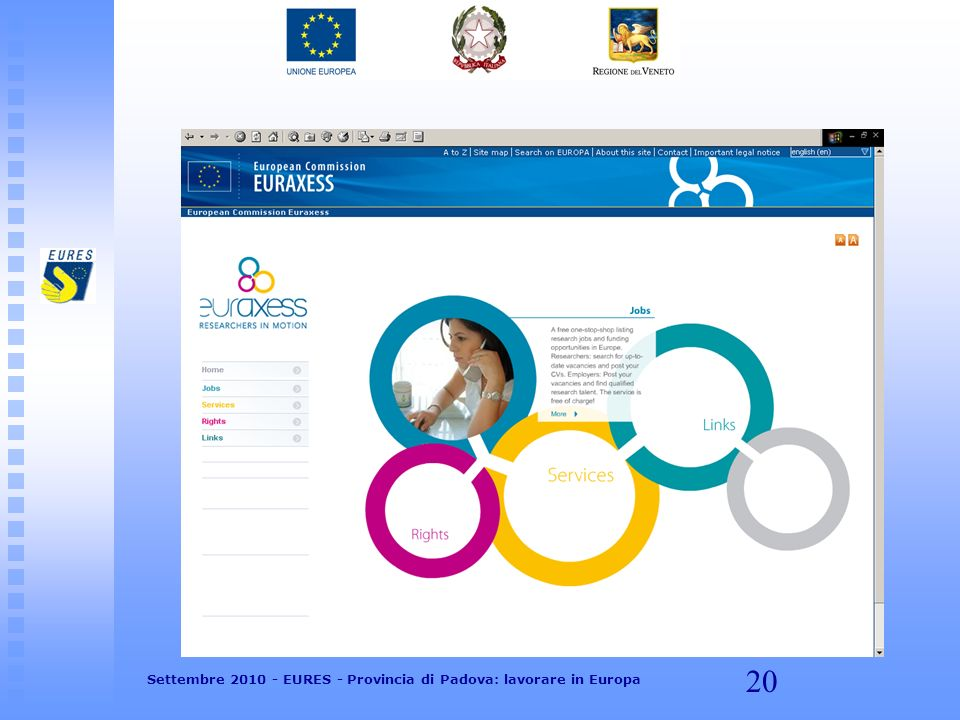 20 Settembre 2010 - EURES - Provincia di Padova: lavorare in Europa