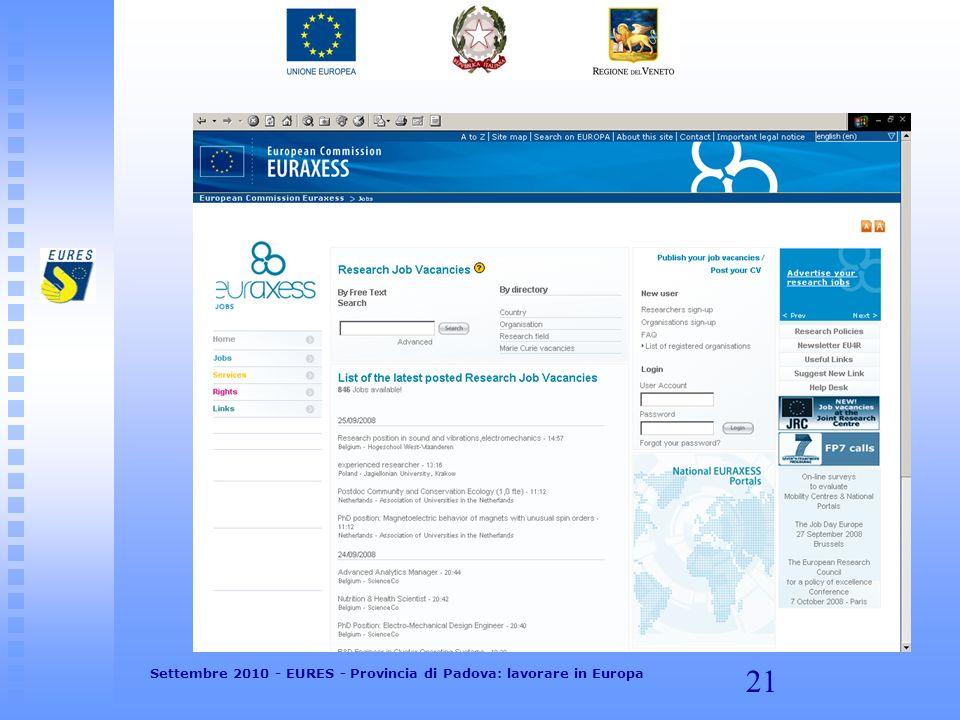 21 Settembre 2010 - EURES - Provincia di Padova: lavorare in Europa