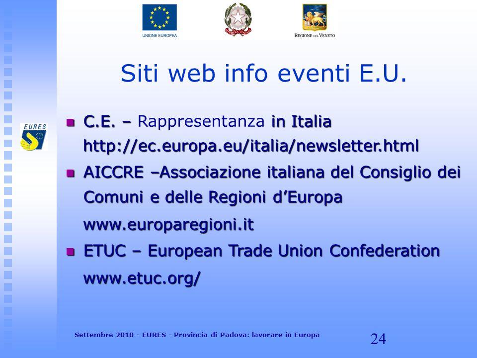 24 Siti web info eventi E.U. C.E. – in Italia C.E. – Rappresentanza in Italia http://ec.europa.eu/italia/newsletter.html http://ec.europa.eu/italia/ne