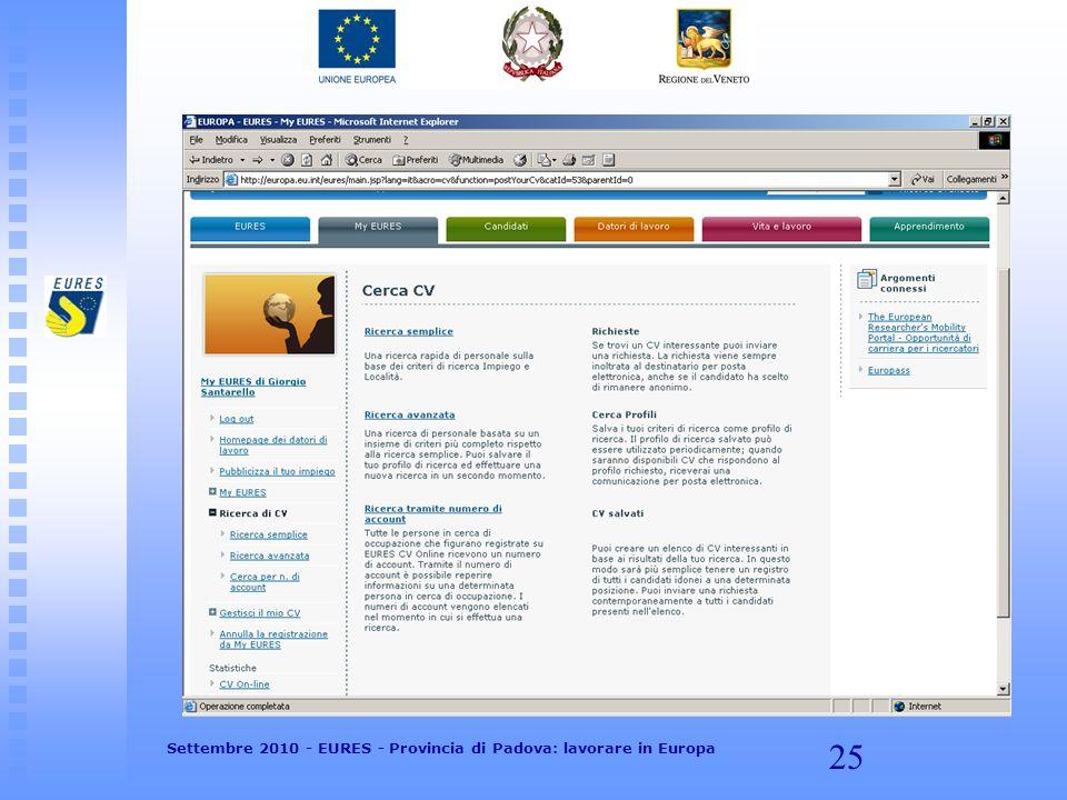 25 Settembre 2010 - EURES - Provincia di Padova: lavorare in Europa