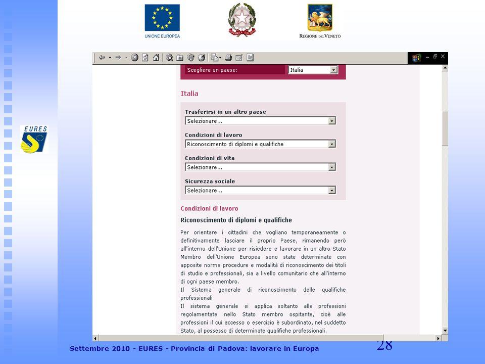 28 Settembre 2010 - EURES - Provincia di Padova: lavorare in Europa