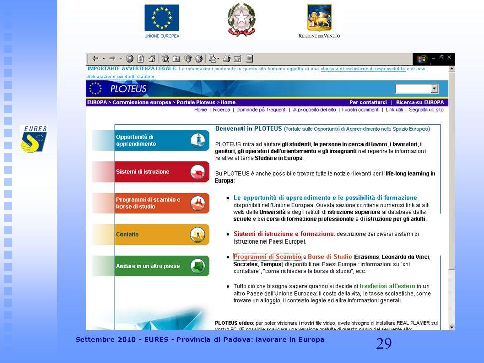 29 Settembre 2010 - EURES - Provincia di Padova: lavorare in Europa