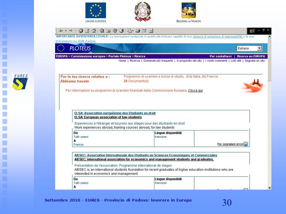 30 Settembre 2010 - EURES - Provincia di Padova: lavorare in Europa