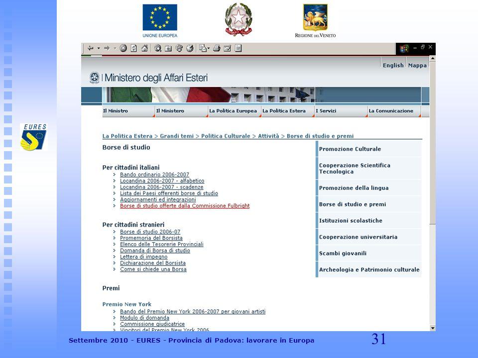 31 Settembre 2010 - EURES - Provincia di Padova: lavorare in Europa