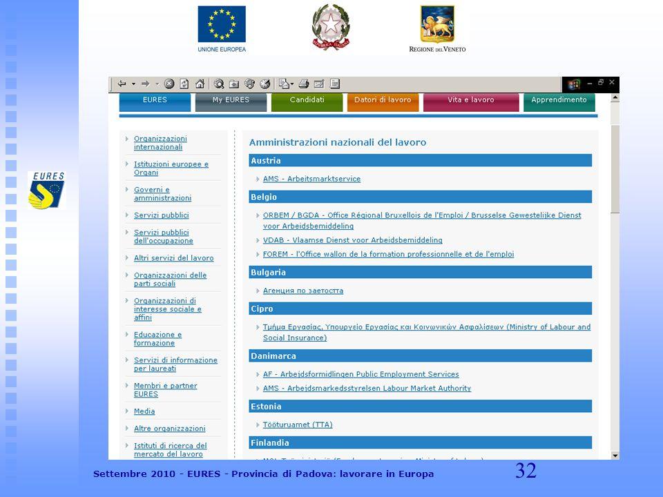 32 Settembre 2010 - EURES - Provincia di Padova: lavorare in Europa