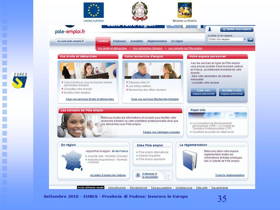 35 Settembre 2010 - EURES - Provincia di Padova: lavorare in Europa
