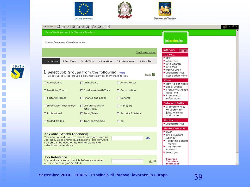 39 Settembre 2010 - EURES - Provincia di Padova: lavorare in Europa
