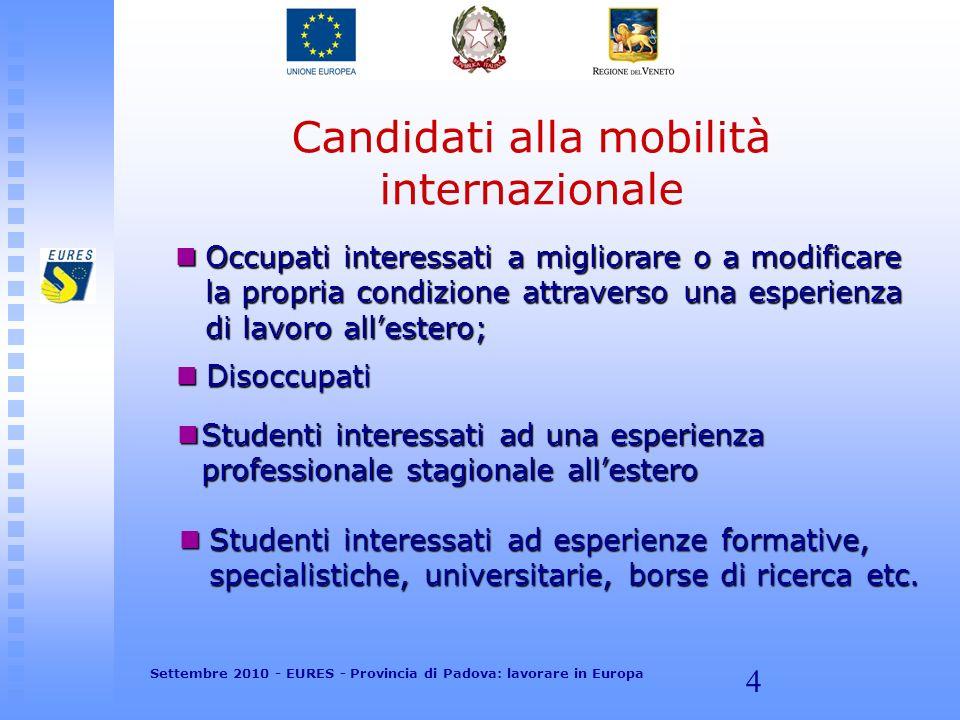 4 Candidati alla mobilità internazionale Occupati interessati a migliorare o a modificare la propria condizione attraverso una esperienza di lavoro al