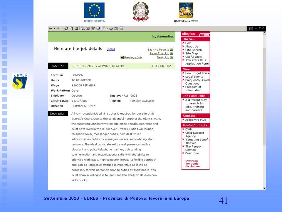 41 Settembre 2010 - EURES - Provincia di Padova: lavorare in Europa