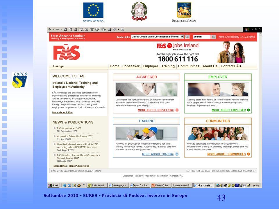 43 Settembre 2010 - EURES - Provincia di Padova: lavorare in Europa