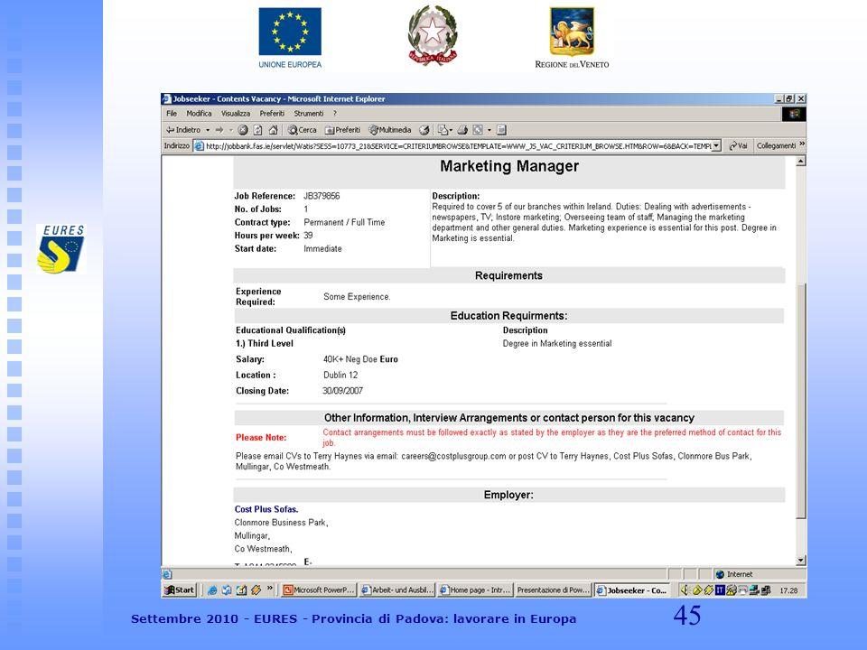 45 Settembre 2010 - EURES - Provincia di Padova: lavorare in Europa