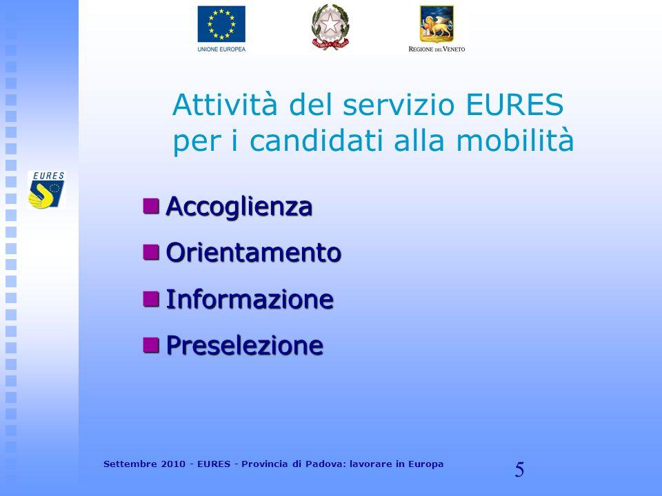 5 Attività del servizio EURES per i candidati alla mobilità Accoglienza Accoglienza Orientamento Orientamento Informazione Informazione Preselezione Preselezione Settembre 2010 - EURES - Provincia di Padova: lavorare in Europa