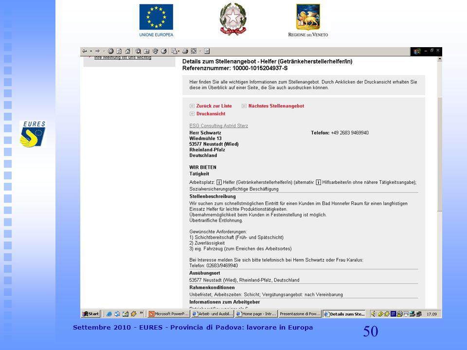 50 Settembre 2010 - EURES - Provincia di Padova: lavorare in Europa