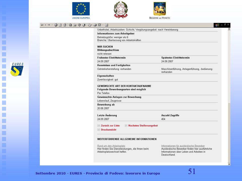 51 Settembre 2010 - EURES - Provincia di Padova: lavorare in Europa