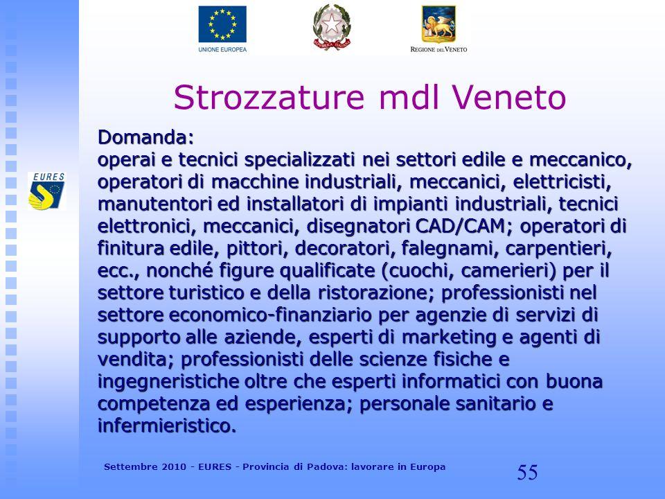 55 Strozzature mdl Veneto Domanda: operai e tecnici specializzati nei settori edile e meccanico, operatori di macchine industriali, meccanici, elettri