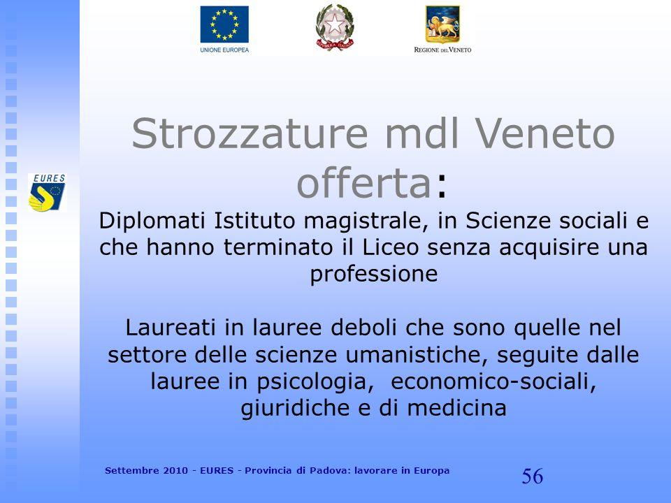 56 Strozzature mdl Veneto offerta: Diplomati Istituto magistrale, in Scienze sociali e che hanno terminato il Liceo senza acquisire una professione La