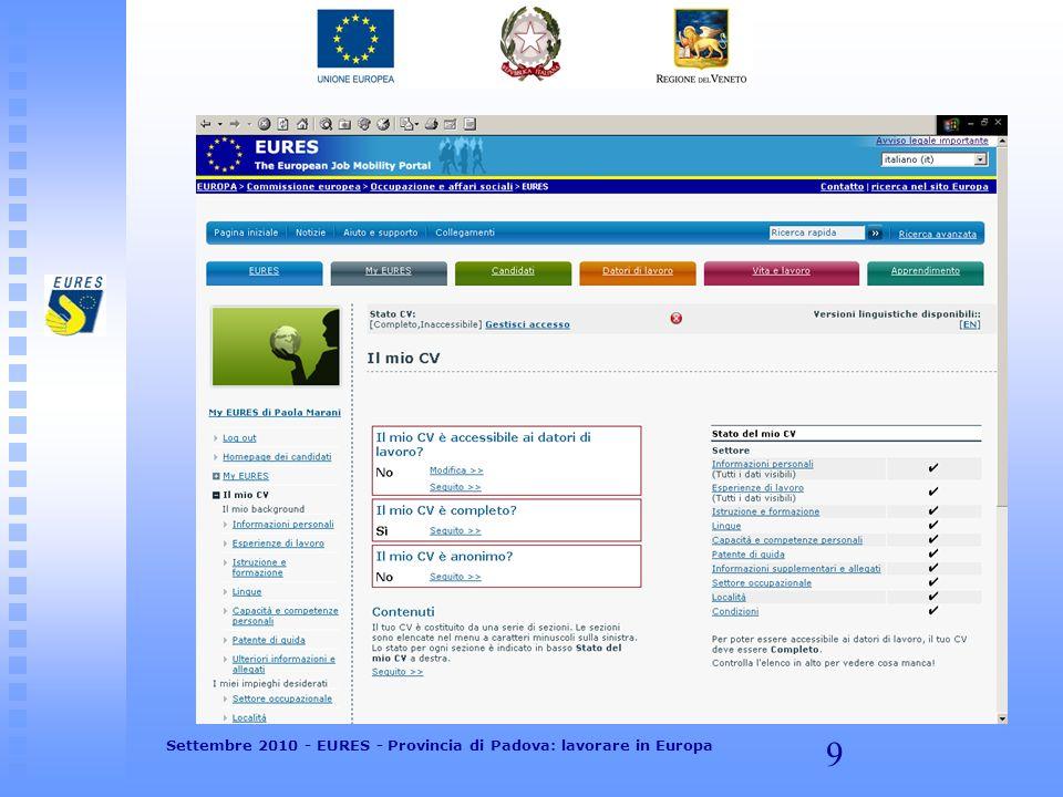 10 Settembre 2010 - EURES - Provincia di Padova: lavorare in Europa
