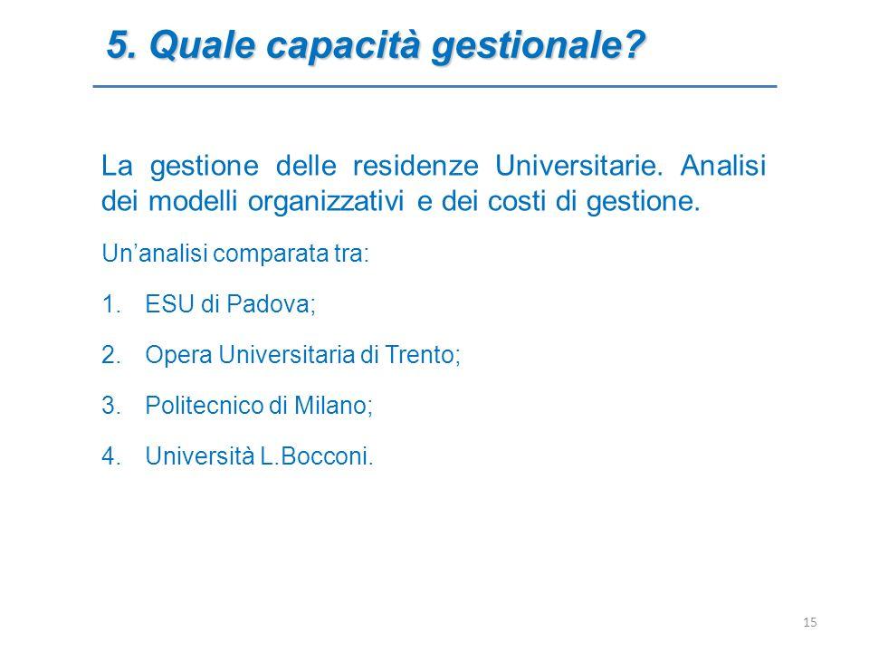 5. Quale capacità gestionale? La gestione delle residenze Universitarie. Analisi dei modelli organizzativi e dei costi di gestione. Unanalisi comparat