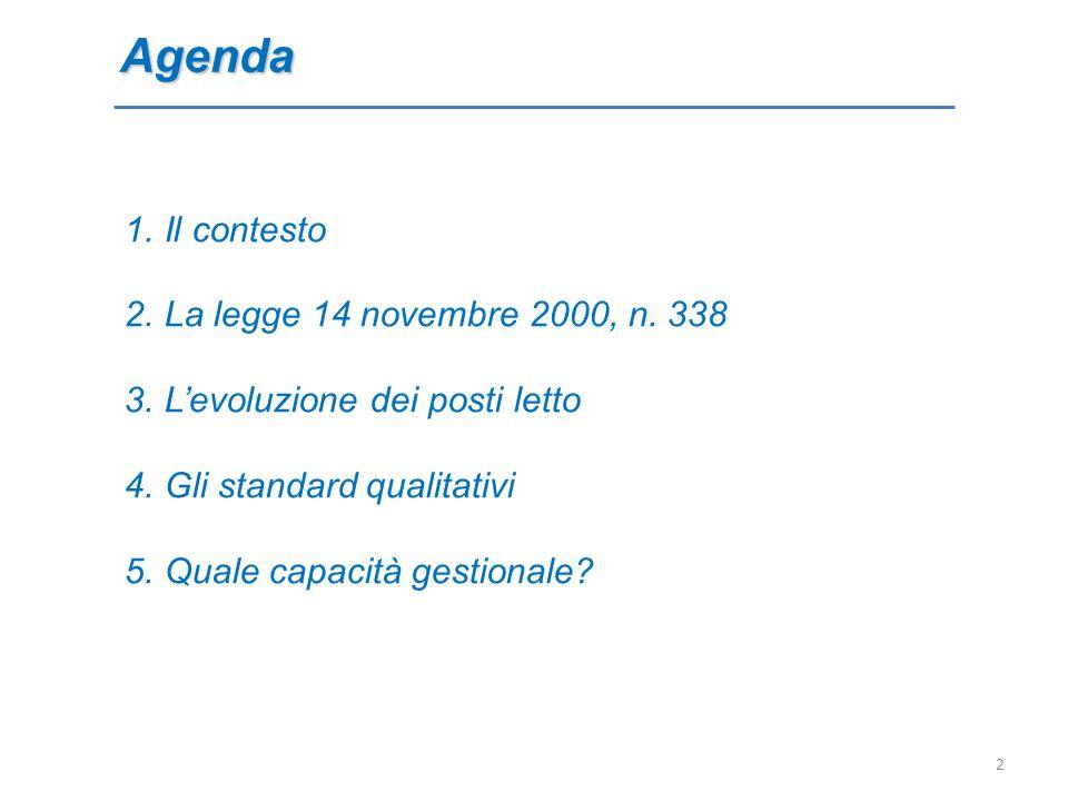 Agenda 1.Il contesto 2.La legge 14 novembre 2000, n. 338 3.Levoluzione dei posti letto 4.Gli standard qualitativi 5.Quale capacità gestionale? 2