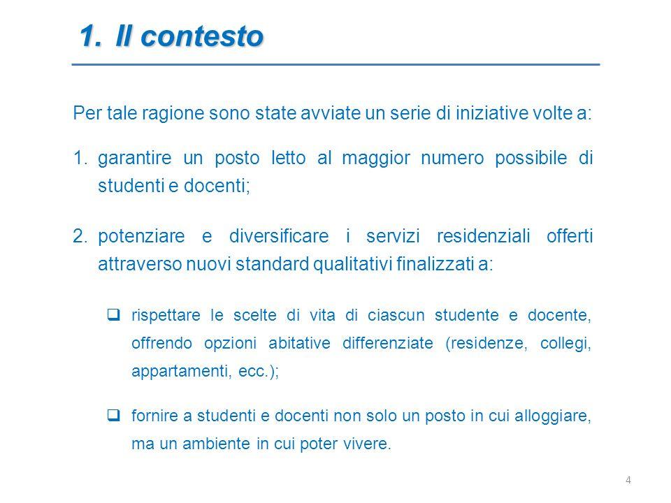 2.La legge 14 novembre 2000, 338 Il quadro normativo: primo bando 02 D.M.