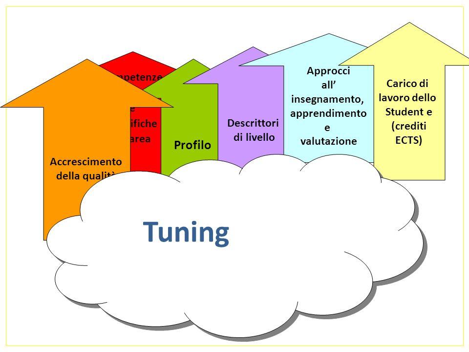Punti di riferimento Tuning? competenze generali e Specifiche di area Profilo Descrittori di livello Approcci all insegnamento, apprendimento e valuta