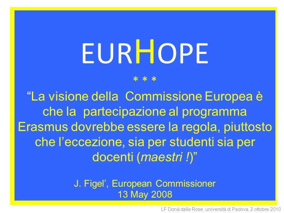 EUR H OPE * * *La visione della Commissione Europea è che la partecipazione al programma Erasmus dovrebbe essere la regola, piuttosto che leccezione,