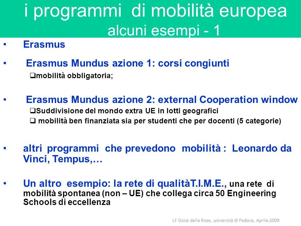 LF Donà dalle Rose, università di Padova, Aprile 2009 i programmi di mobilità europea alcuni esempi - 1 Erasmus Erasmus Mundus azione 1: corsi congiun