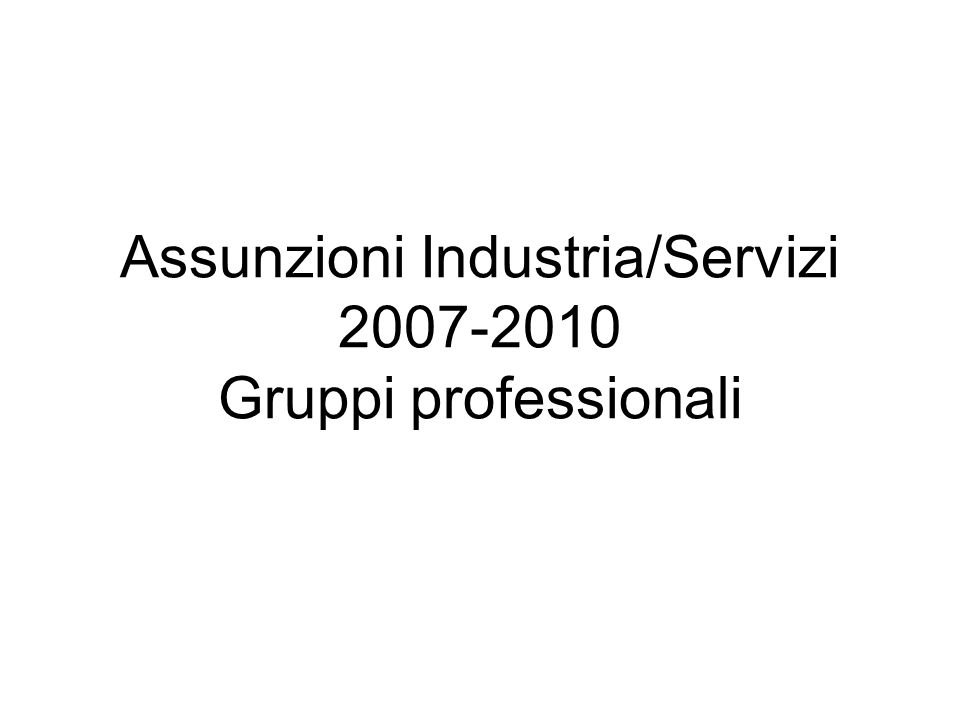 Assunzioni Industria/Servizi 2007-2010 Gruppi professionali