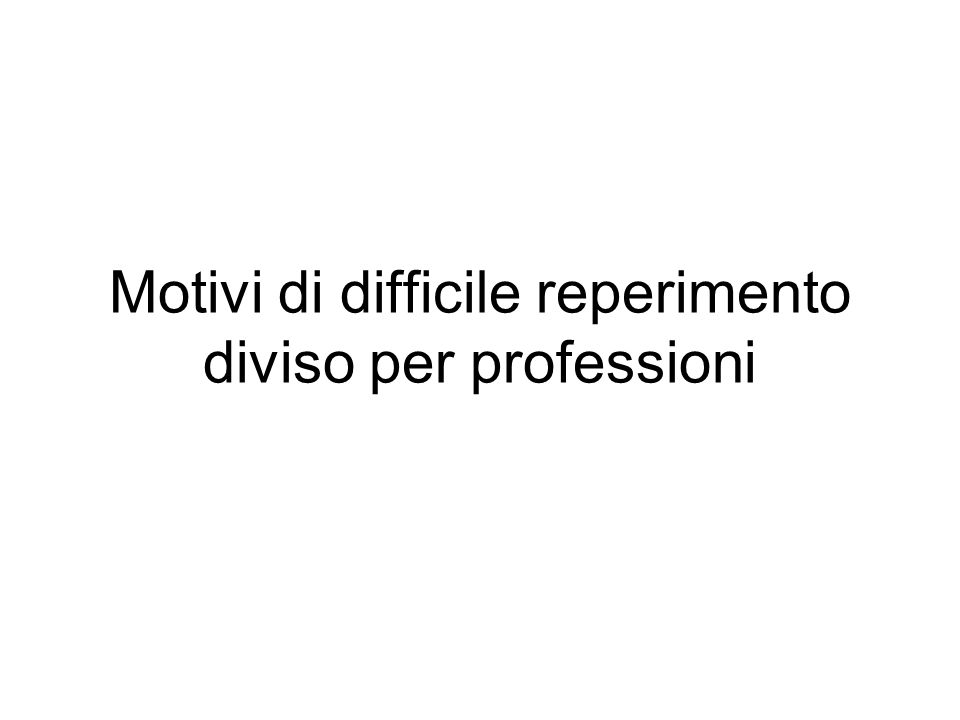 Motivi di difficile reperimento diviso per professioni