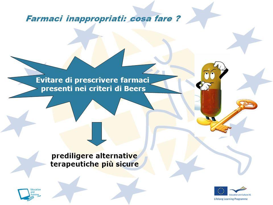 Farmaci inappropriati: cosa fare ? Evitare di prescrivere farmaci presenti nei criteri di Beers prediligere alternative terapeutiche più sicure