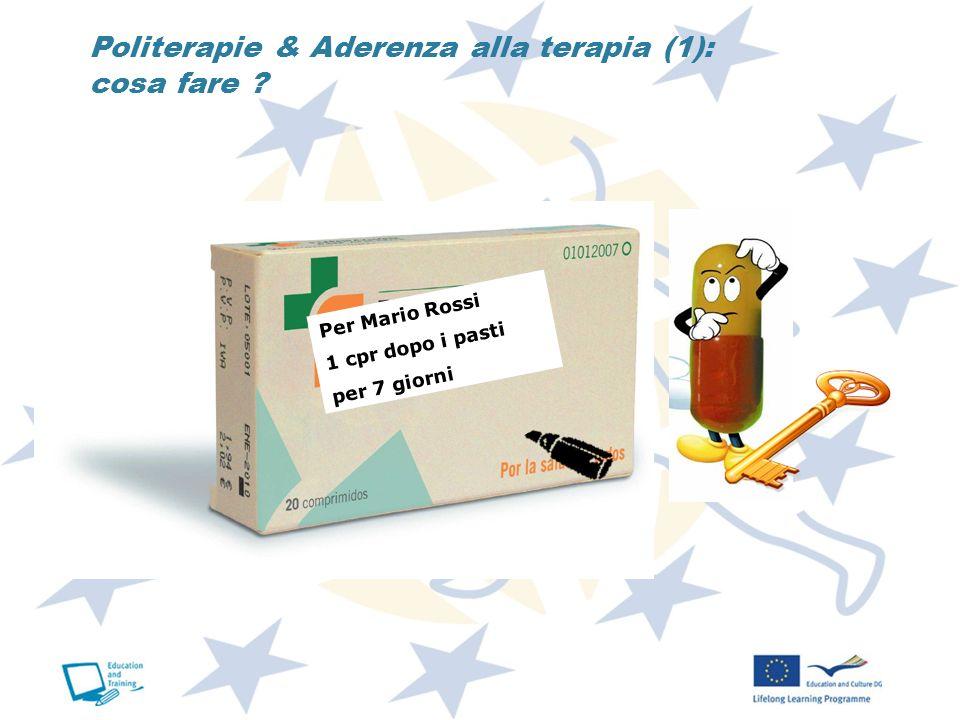 Politerapie & Aderenza alla terapia (1): cosa fare ? Per Mario Rossi 1 cpr dopo i pasti per 7 giorni