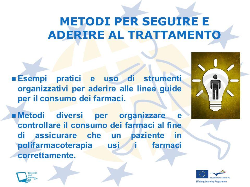 METODI PER SEGUIRE E ADERIRE AL TRATTAMENTO Esempi pratici e uso di strumenti organizzativi per aderire alle linee guide per il consumo dei farmaci. M