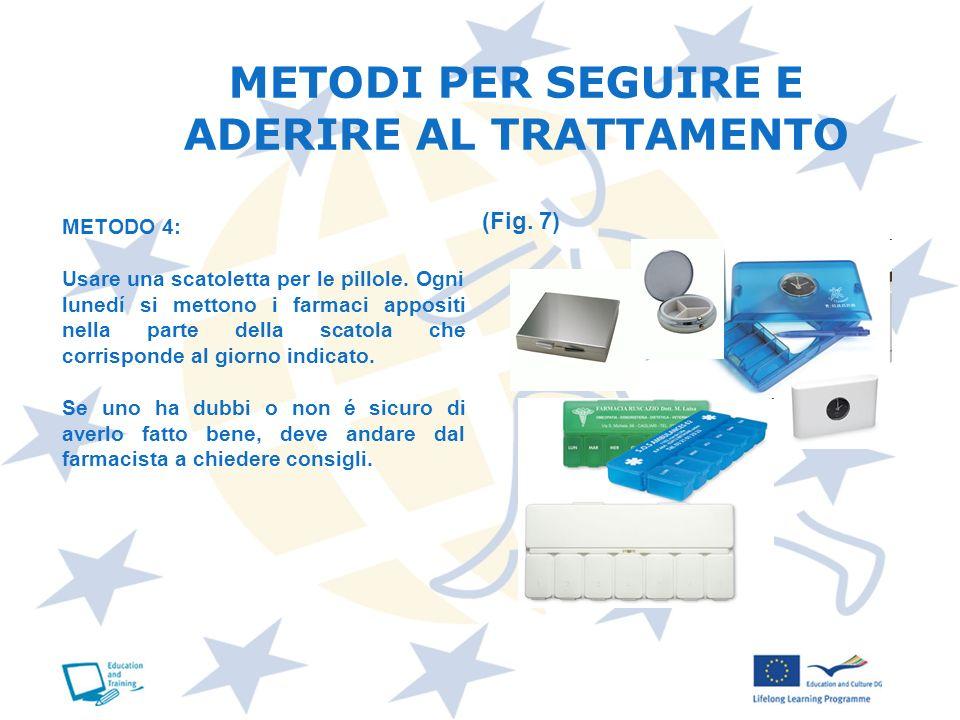 METODI PER SEGUIRE E ADERIRE AL TRATTAMENTO METODO 4: Usare una scatoletta per le pillole. Ogni lunedí si mettono i farmaci appositi nella parte della