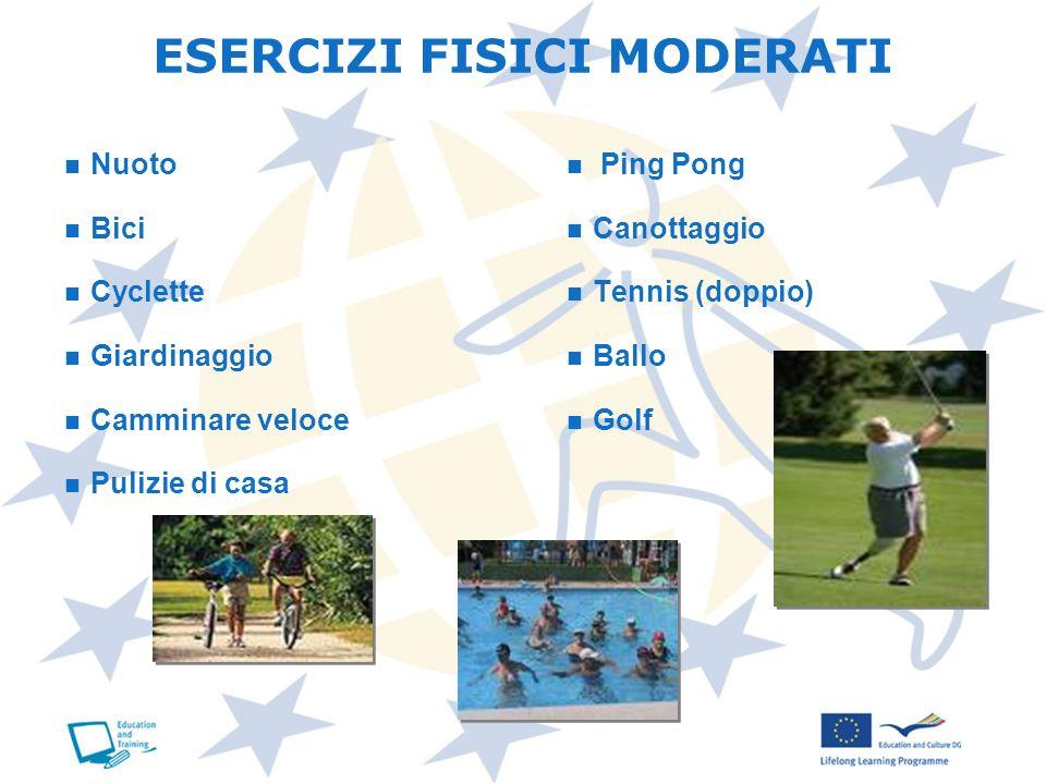 Nuoto Bici Cyclette Giardinaggio Camminare veloce Pulizie di casa Ping Pong Canottaggio Tennis (doppio) Ballo Golf ESERCIZI FISICI MODERATI