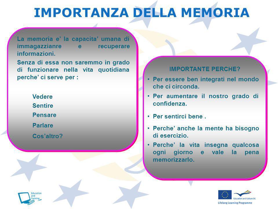 IMPORTANZA DELLA MEMORIA La memoria e la capacita umana di immagazzianre e recuperare informazioni. Senza di essa non saremmo in grado di funzionare n