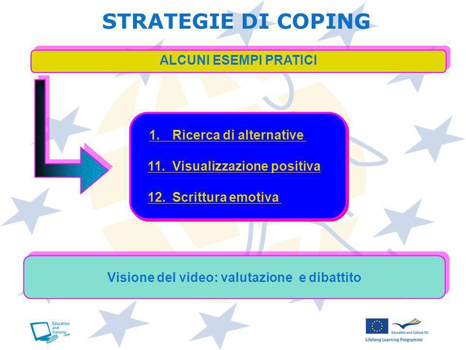 ALCUNI ESEMPI PRATICI 1. Ricerca di alternative 1. Ricerca di alternative 11.Visualizzazione positiva11.Visualizzazione positiva 12.Scrittura emotiva1
